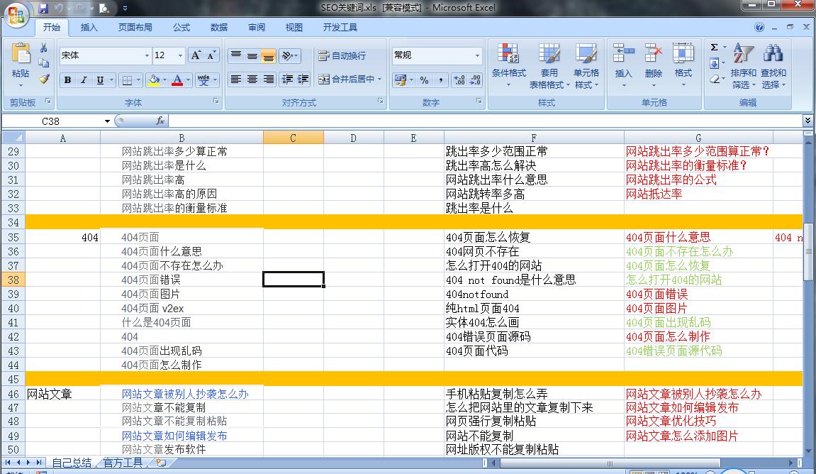 不同工具挖掘的关键词做成了xlsx表格